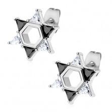 Naušnice izrađene od 316L čelika, Davidova zvijezda sastavljena od prozirnih i crnih cirkona