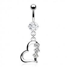 Piercing za pupak od titanija - srce s tri cvijeta