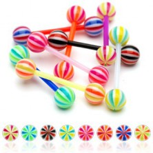 Piercing za jezik - savitljiva ultraljubičasta šipkica u bojama slatkiša