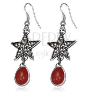 Metalne naušnice - petokraka zvijezda sa cirkonima i crvenim kamenom