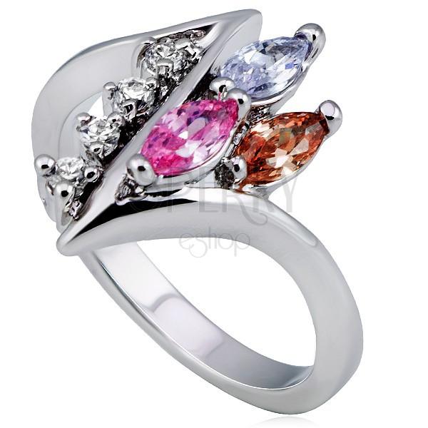 Sjajni prsten, oštro uvijena linija sa prozirnim cirkonima i cirkonima u boji