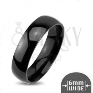 Sjajni metalni prsten - glatki zaobljeni vjenčani prsten crne boje
