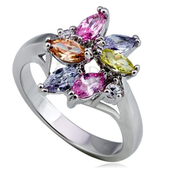 Sjajni metalni prsten - cvijet, raznobojni okrugli i u obliku suze cirkoni