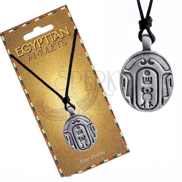 Ogrlica - crna uzica, metalni privjesak, ovalna egipatska amajlija