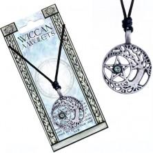 Náhrdelník - čierna šnúrka a kovový strom druidov, pentagram