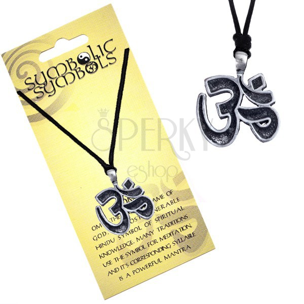 Ogrlica sa špagicom - metalni privjesak, sveti slog OM