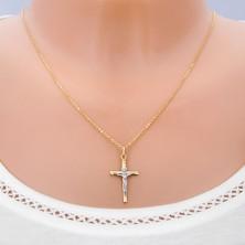 Privjesak od 14K zlata - dvobojna kombinacija Krista na križu s udubljenjima