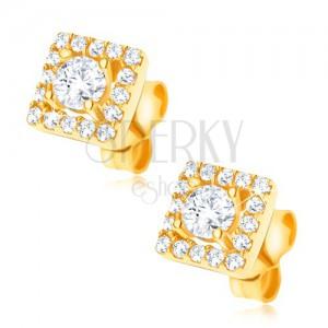 Naušnice izrađene od 585 zlata - kvadrat ukrašen sa prozirnim cirkonima, 6 mm