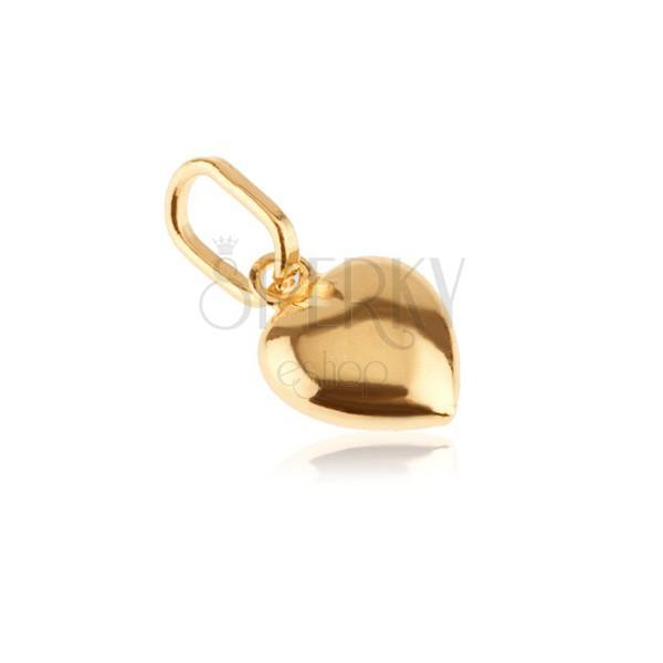 Privjesak od zlata 585 - 3D srce sa sjajnom površinom i urezom