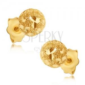 Naušnice izrađene od 585 zlata - pjeskarene loptice sa sjajnim zrnima