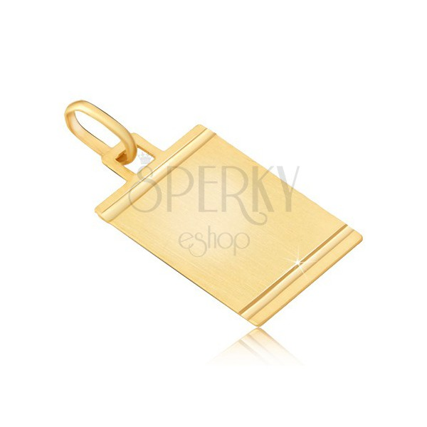 Pendant made of gold - matt tag with glossy horizontal notches