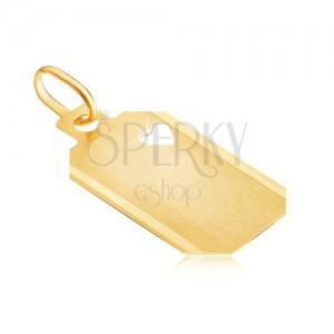 Zlatni privjesak - pločica sa prorezom u obliku srca i mat površinom