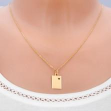 Gold 14K pendant - matt rectangle with heart cut-out