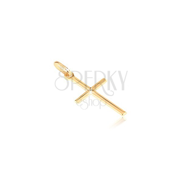 Gold 14K pendant - tiny glossy cross with engraved X