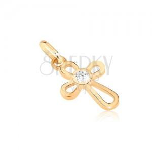 Zlatni privjesak - križ napravljen od tankih petlji, cirkon u sredini