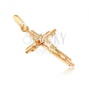 Gold pendant - cross with incised bars and three-dimensional Jesus