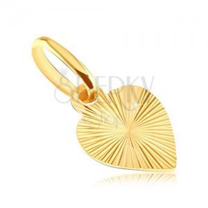 Plosnati privjesak od 14K zlata - puno srce s ugraviranim zrakama