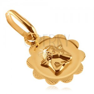 Gold pendant - flower with engraving and small angel