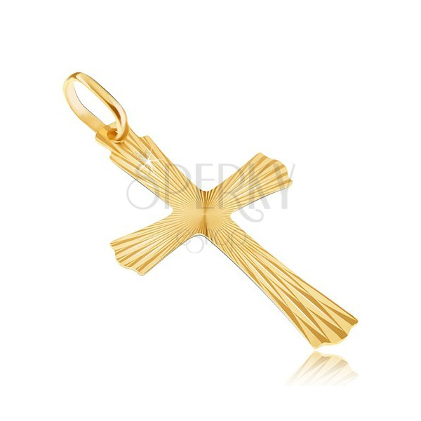 Gold 14K pendant - radial cross with undulated ends