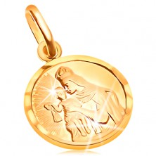Okrugli privjesak od zlata 585 - Isus i Sveta Marija u okviru