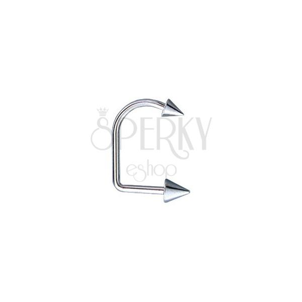Petlja za usnice, piercing za bradu i usnice s dva šiljka 4 / 5 mm