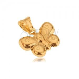 Privjesak od 14K zlata, trodimenzionalni leptir, sjajna površina