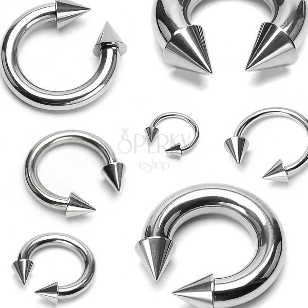 Piercing od nehrđajuećg čelika srebrne boje - konjska potkova sa šiljcima