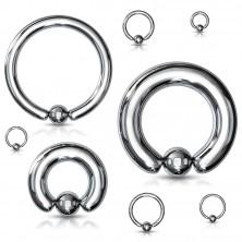 Čelični piercing - krug i loptica srebrne boje, širina 1,6 mm