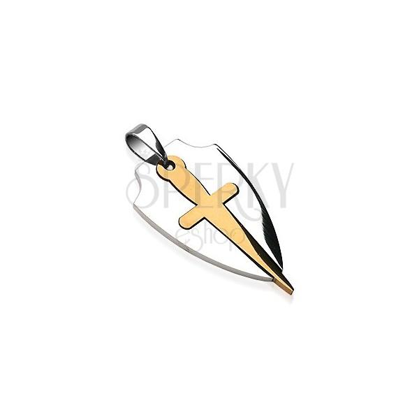 Privjesak od nehrđajućeg čelika dvobojnog dizajna - mač i štit