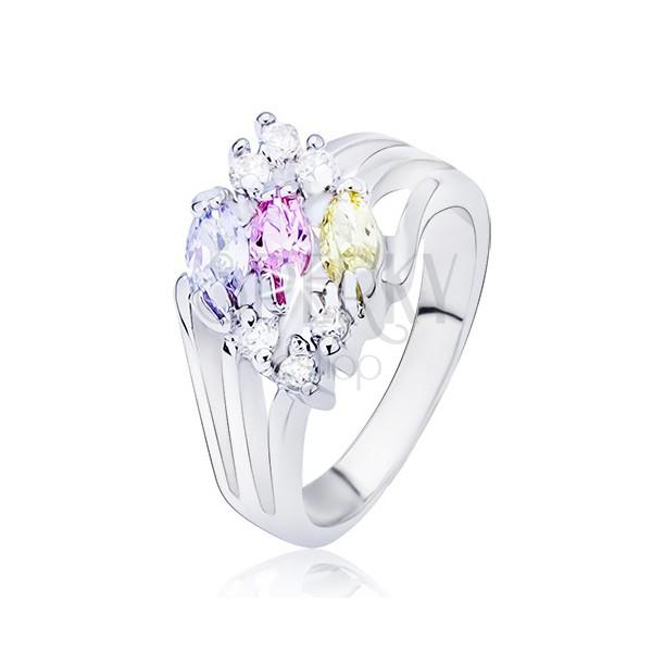 Sjajni prsten srebrne boje, razdvojeni krakovi s ovalnim cirkonima raznih boja
