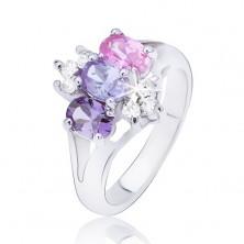 Sjajni prsten sa razdvojenim krakovima, cirkoni u boji u redu