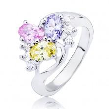 Sjajni prsten - valovita linija i ovalni cirkoni u boji