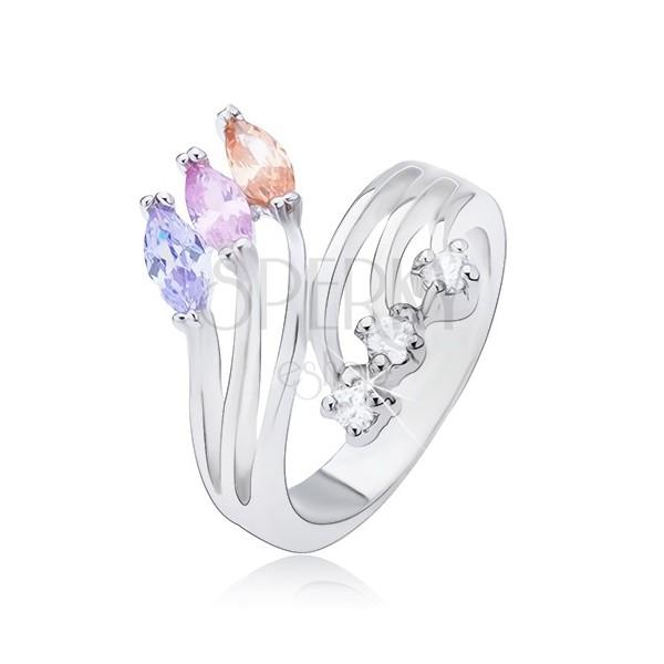Prsten sa razdvojenim krakovima i cirkonskim završecima