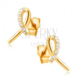 Earrings made of yellow 14K gold - shiny ribbon, loop with clear stones