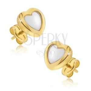 Naušnice od zlata 585 - dvobojna pravilna srca, sjajna zaobljena površina