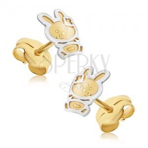 Naušnice od zlata 585 - dvobojni zečić sa satenskom površinom, sjajna silueta