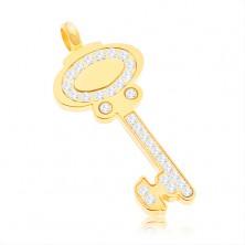 Privjesak od nehrđajućeg čelika - ključ zlatne boje ukrašen prozirnim cirkonima