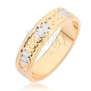 Zlatni prsten sa kružnim usjecima i srebrnim točkicama