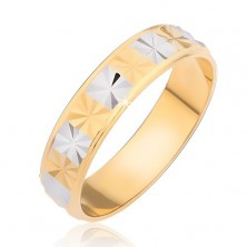 Sjajni prsten - zlatni i srebrni pravokutnici sa dijamantnim brušenjem