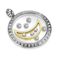 Privjesak od nehrđajućeg čelika - krug sa mjesecom, zvijezdama i cirkonima