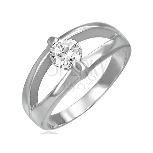 Prsten od nehrđajućeg čelika s podijeljenom vrpcom i prozirnim cirkonom