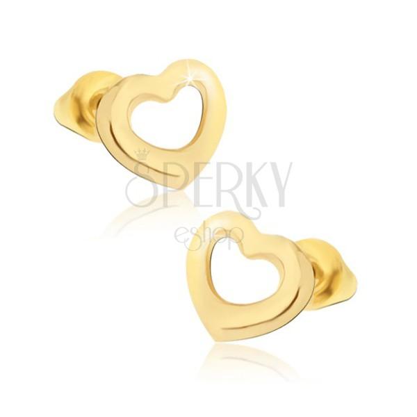 Sjajne naušnice zlatne boje, simetrične siluete srca