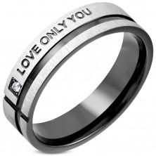 Prsten od nehrđajućeg čelika s cirkonom i crnim prugama