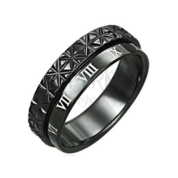 Dvostruki prsten od nehrđajućeg čelika - Rimski brojevi