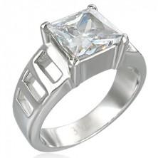 Zaručnički prsten s velikim kvadratnim cirkonom i šest rupa