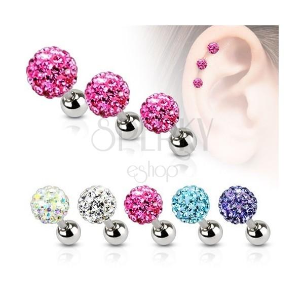 Čelični piercing za uho, cirkonska loptica u boji, 4 mm