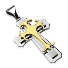 Privjesak od nehrđajućeg čelika - trostruki križ zlatne i srebrne boje