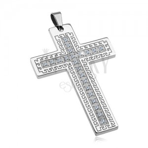 Privjesak od nehrđajućeg čelika - velik križ sa cirkonima i grčkim ključem