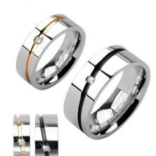 Čelično vjenčano prstenje boje srebra, zlatna ili crna pruga s cirkonom