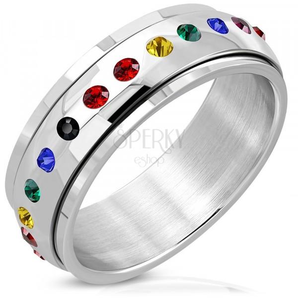 Sjajni čelični prsten - kružni centar, cirkon u bojama duge